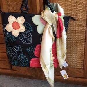 Talbots Black Floral Embroidered Handbag